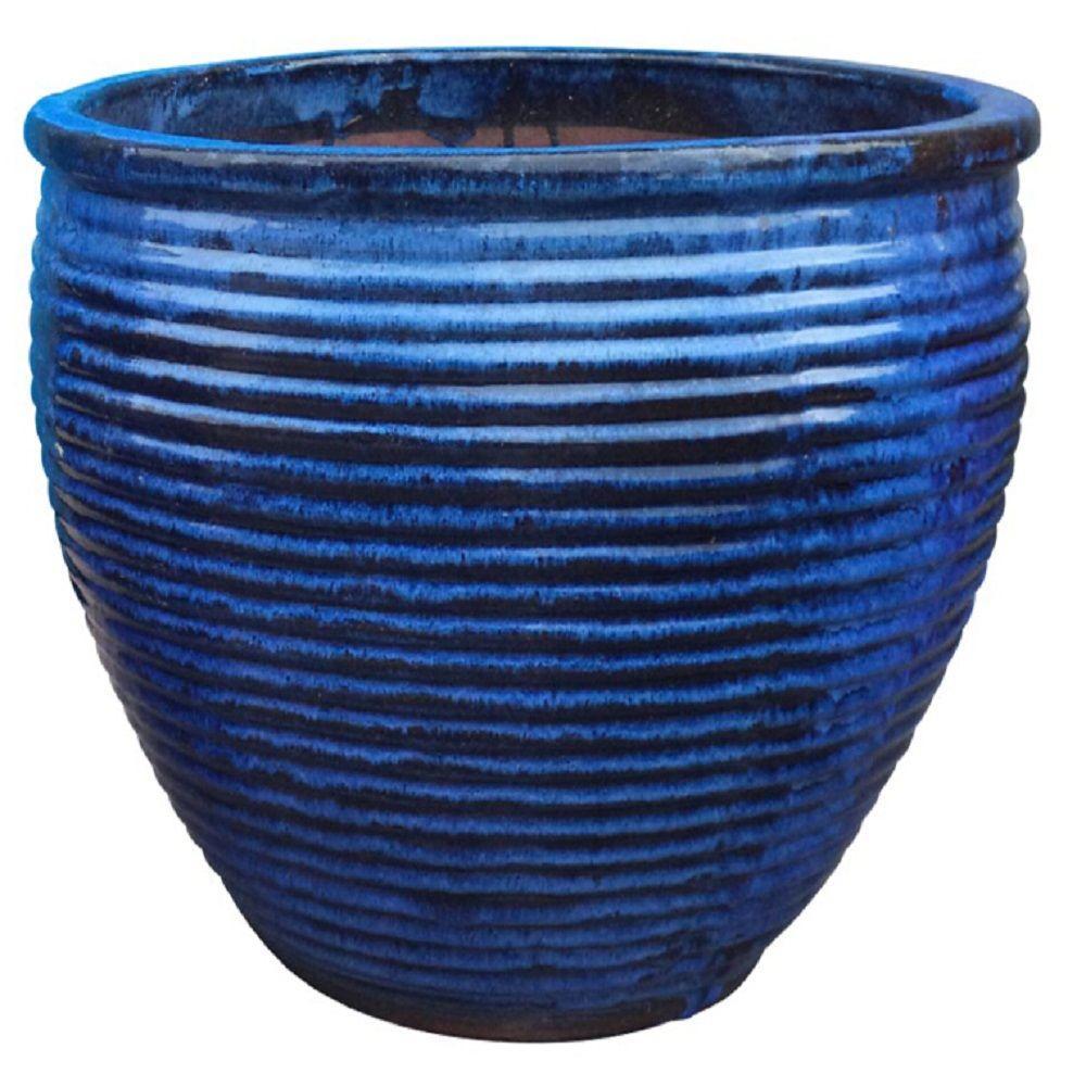 Trendspot 16 in. Dia Drip Blue Ribbed Province Planter