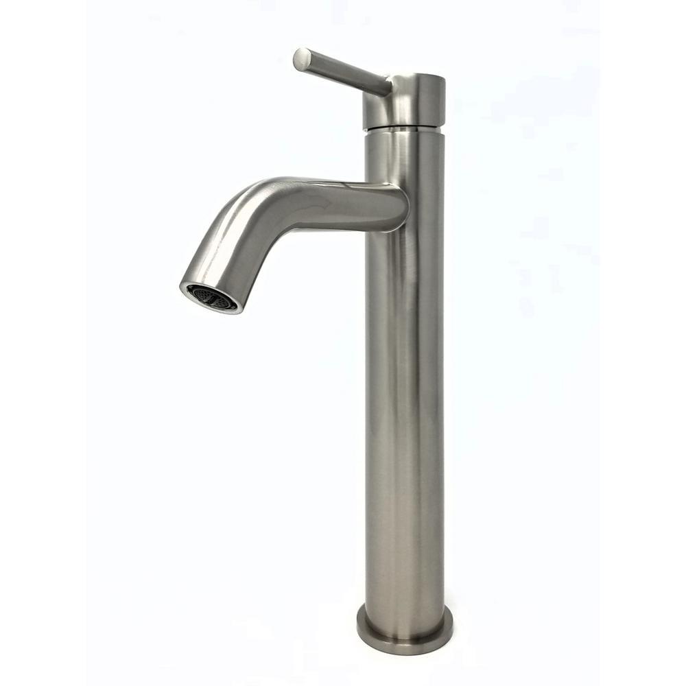 Modern Euro Single Hole Single-Handle Vessel Bathroom Faucet in Brushed Nickel