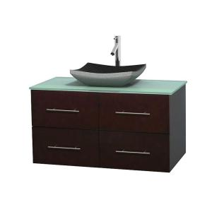 Wyndham Collection Centra 42 inch Vanity in Espresso with Glass Vanity Top in Green and Black Granite Sink by Wyndham Collection