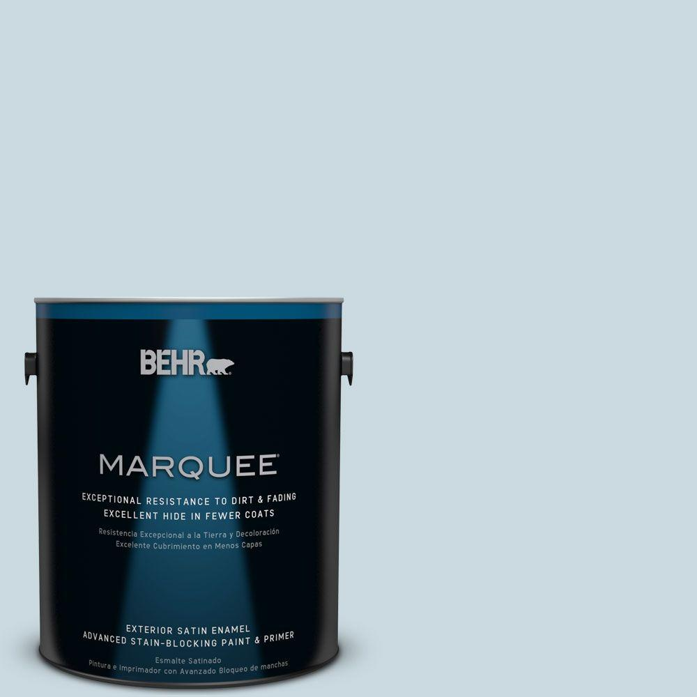 1 gal. #MQ3-53 Sky Light View Satin Enamel Exterior Paint and
