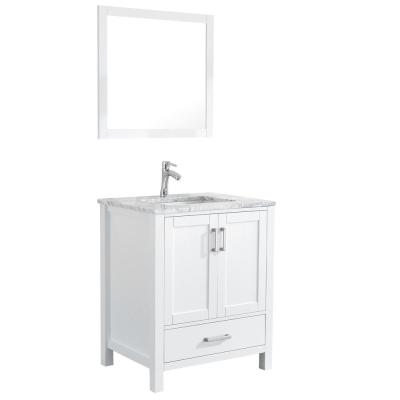 Amaya 30 in. Bathroom Vanity in White with Marble Vanity Top in Cararra White with White Ceramic Basin and Mirror