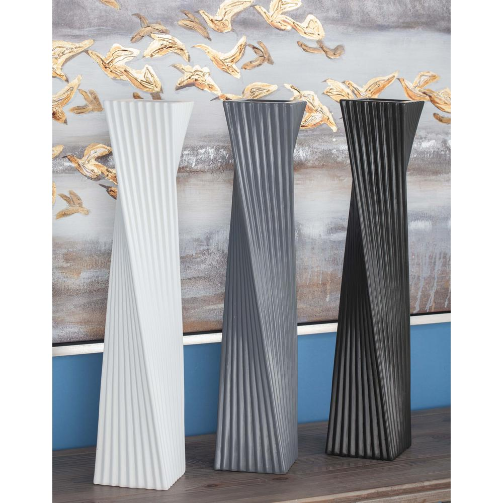 24 in. Twisted-Rectangular Ceramic Decorative Vases in Black, White and Gray