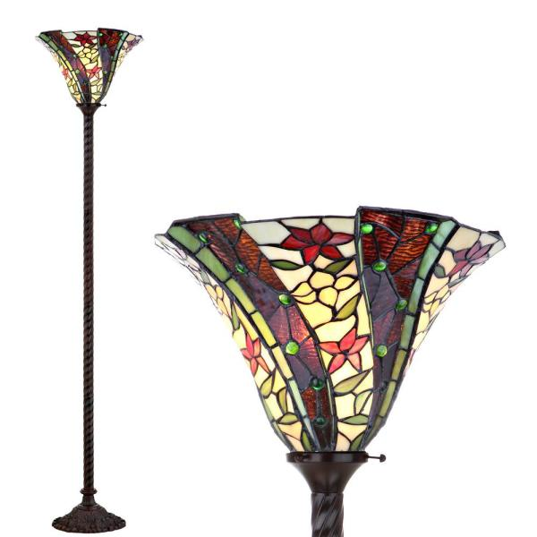 Williams Tiffany-Style 71 in. Bronze Torchiere Floor Lamp
