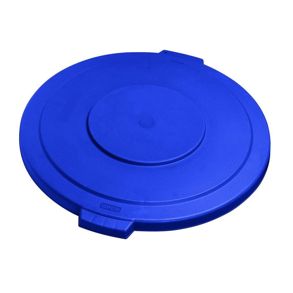 Bronco 55 Gal. Blue Round Trash Can Lid (2-Pack)