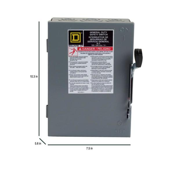 square d 30 amp 240-volt 2-pole fused indoor general duty safety switch-d221ncp  - the home depot  the home depot
