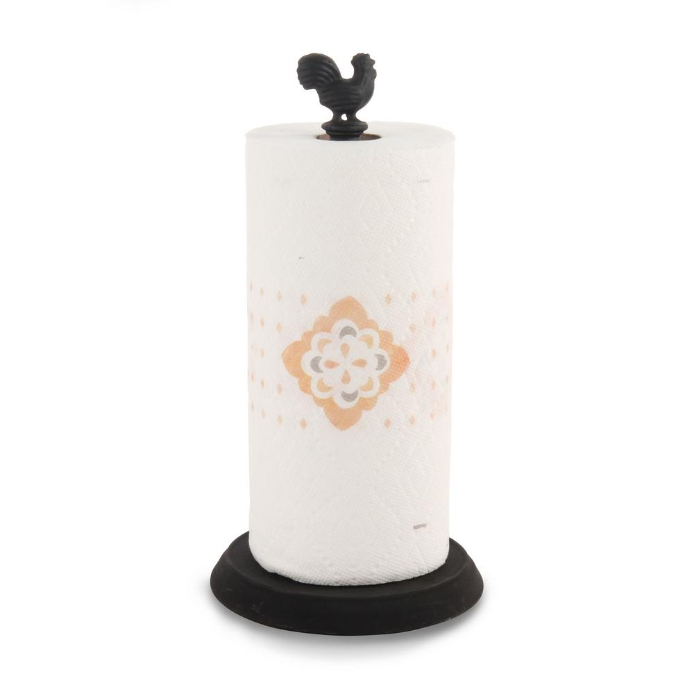 Spectrum Rooster Countertop Black Paper Towel Holder The Rooster Paper Towel Holder is a great way to store and display your paper towels. The sturdy padded base protects countertops from scratches, while the removable rooster cast iron finial easily unscrews to change rolls. Made of sturdy steel. Color: Black.