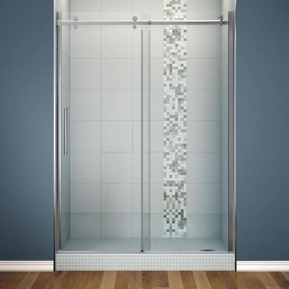 MAAX Halo 60 in. x 78-3/4 in. Semi-Framed Sliding Shower Door Clear Glass in Chrome