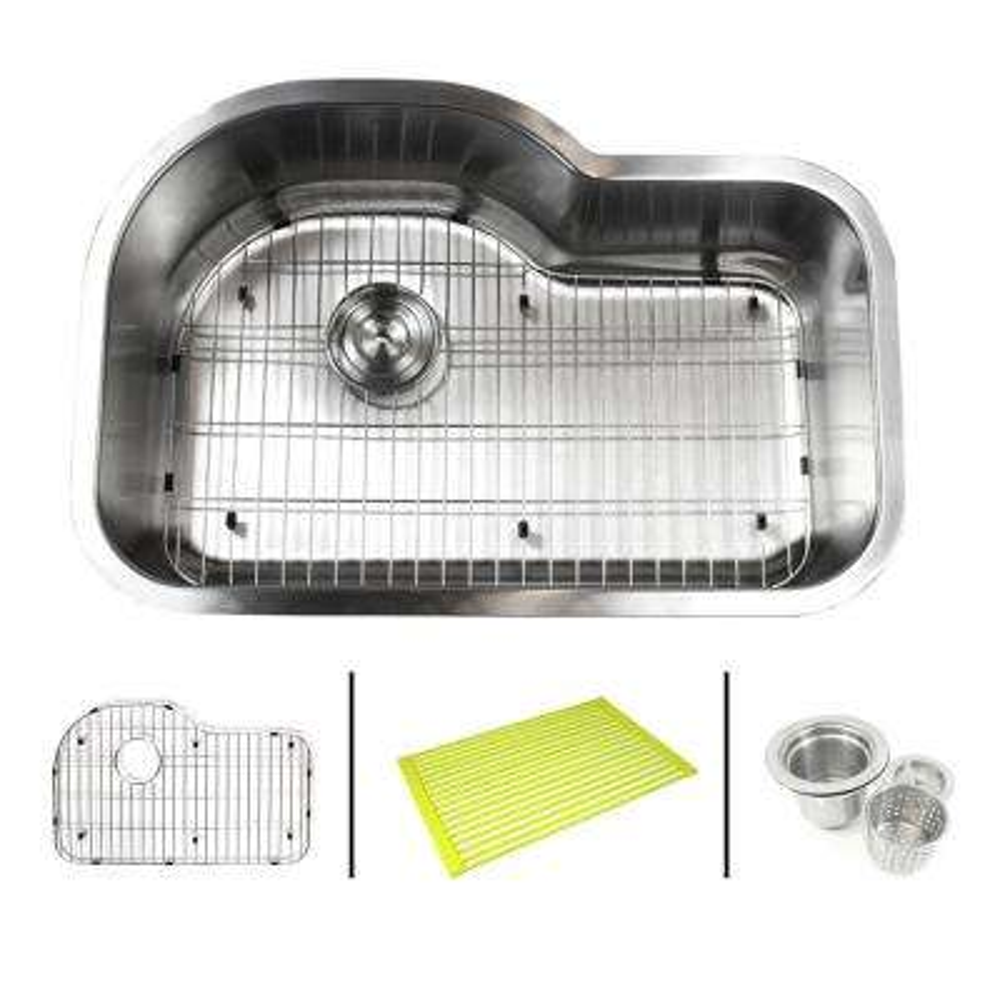 Undermount 16-Gauge Stainless Steel 31-1/2 in. x 21-1/8 in. x 9 in. Single Bowl Kitchen Sink Combo