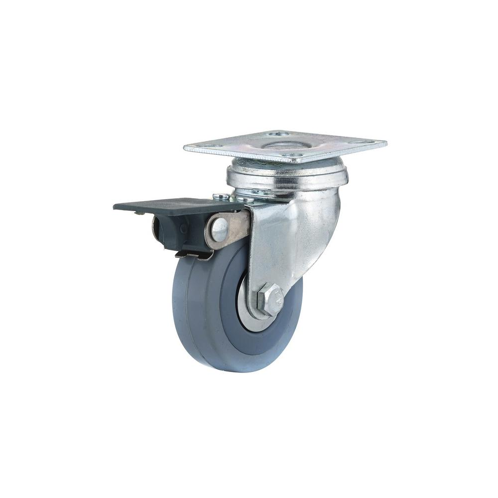 1-31/32 in. Gray Swivel with Brake plate Caster, 88.2 lb. Load