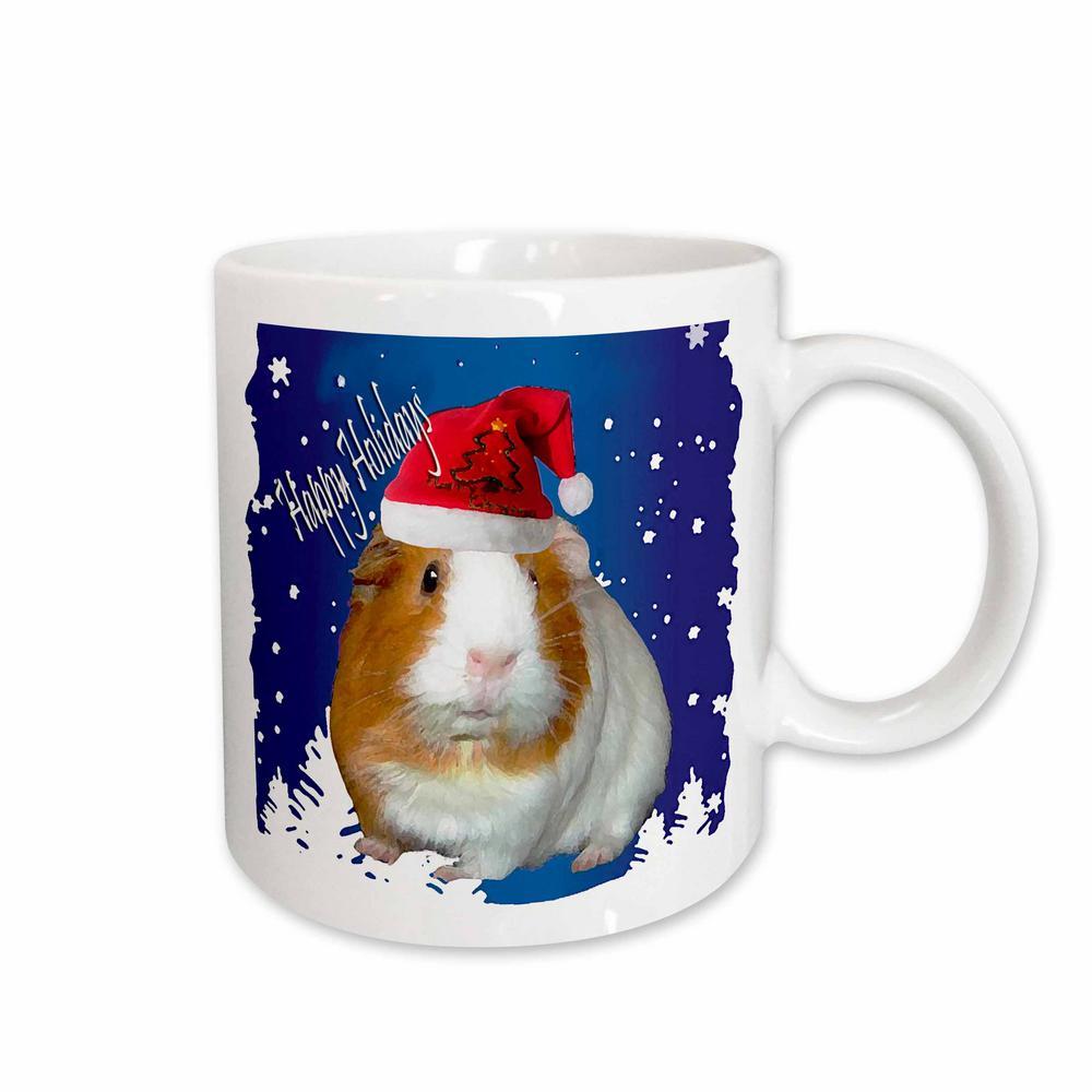 Holidays 11 oz. White Ceramic Guinea Pig Christmas Mug