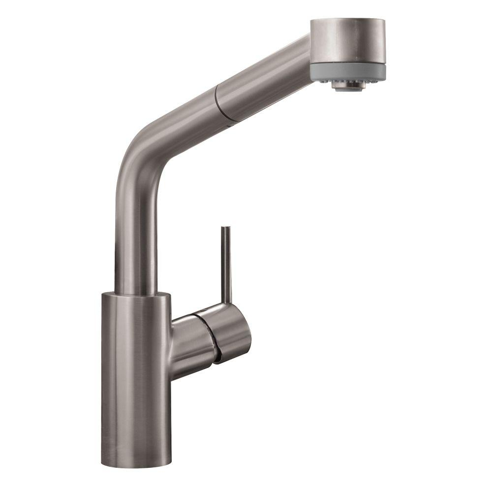 Hansgrohe Talis S Single Handle Pull Out Sprayer Kitchen Faucet In Steel Optik
