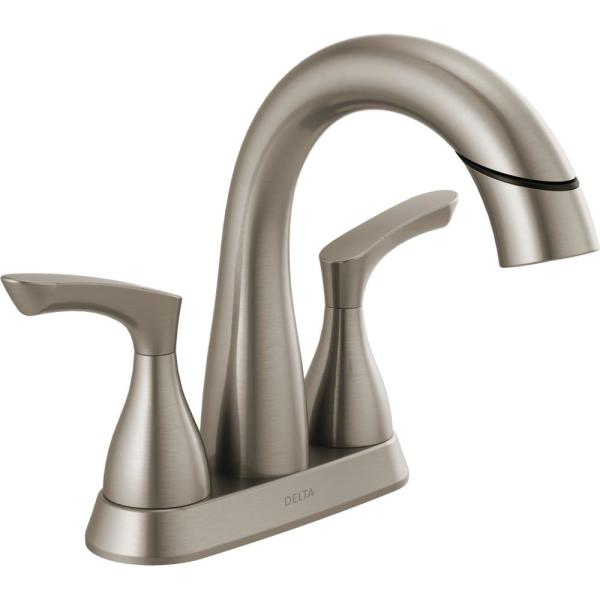 Broadmoor 4 in. Centerset 2-Handle Pull-Down Spout Bathroom Faucet in SpotShield Brushed Nickel