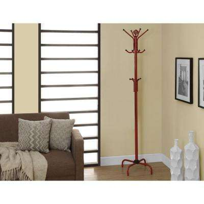 Red Metal Finish 8-Hook Coat Rack