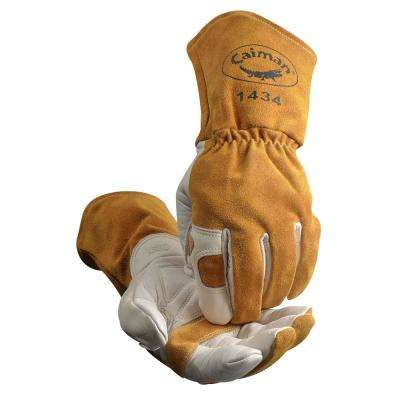 Extra Large Gold Ergonomic Cow Grain MIG/Stick Welding Gloves
