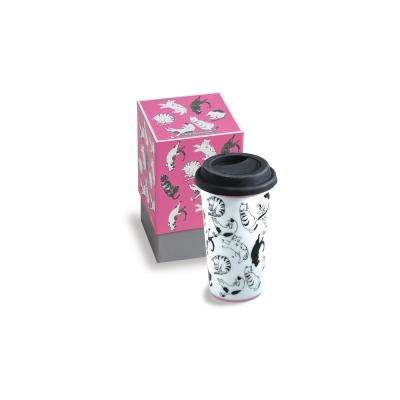 Purr & Wag 12 oz Pink Cat Travel Mug