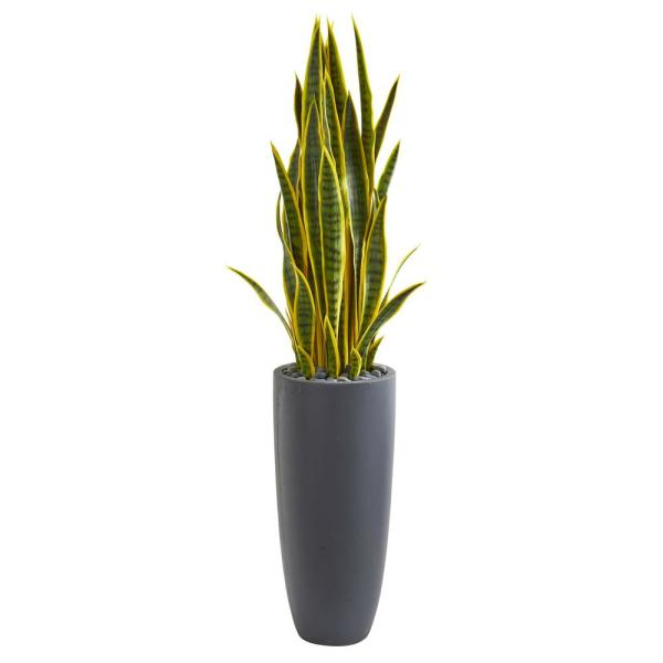 Nearly Natural Indoor 4.5-Ft. Sansevieria Artificial Plant in Gray Planter 9185