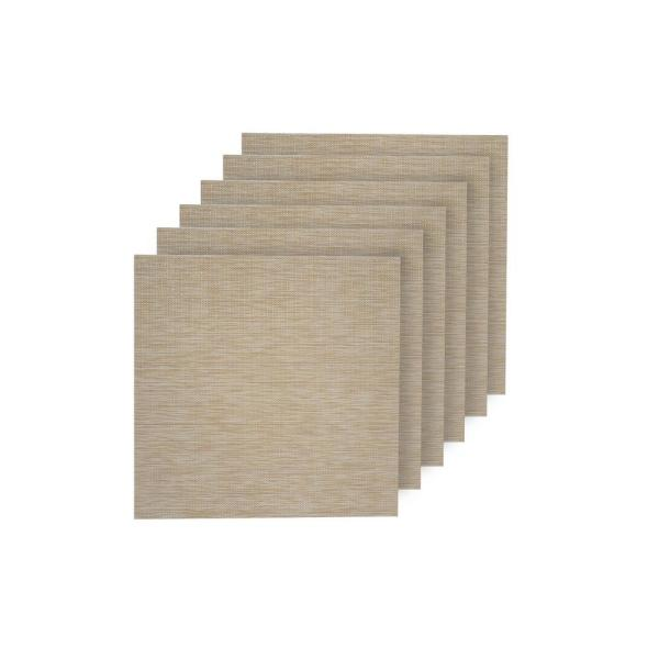 Dainty Home Natural Shimmer Ivory Woven Textilene Reversible Square Placemats