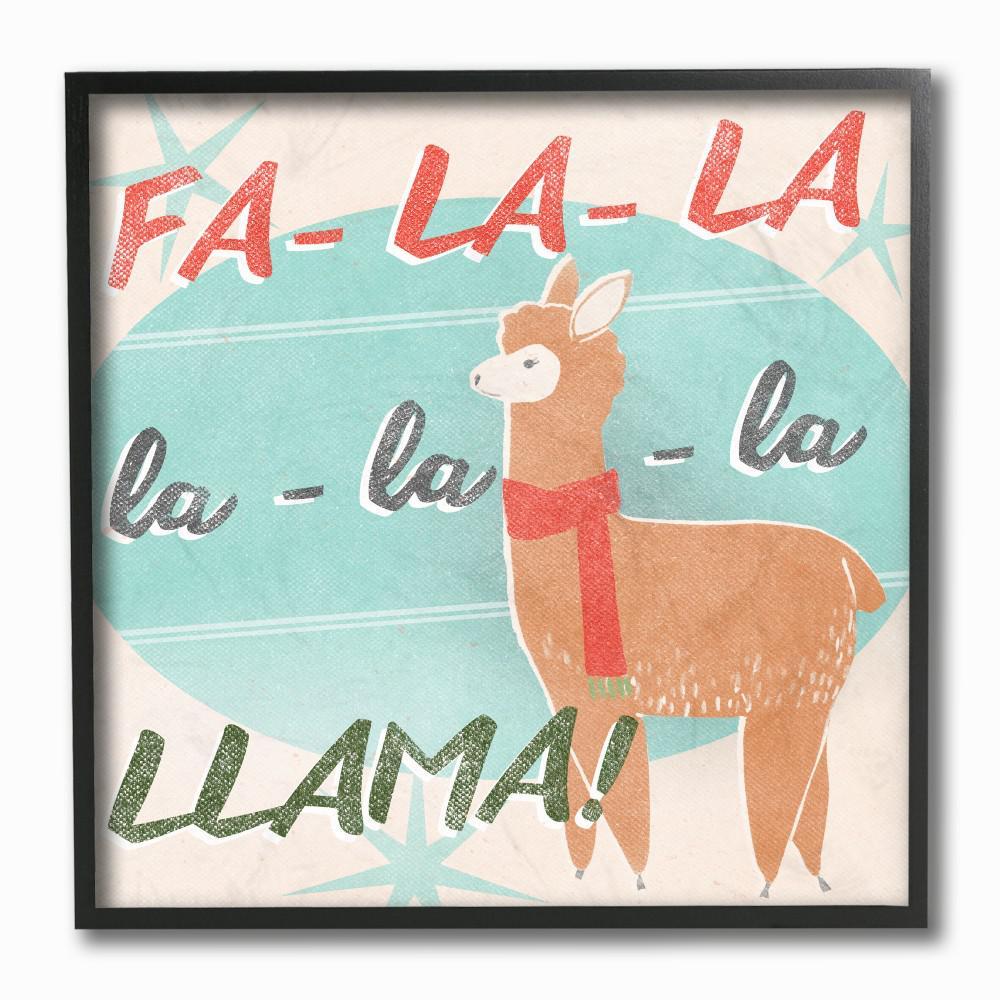 Llama Christmas.12 In X 12 In Holiday Christmas Fa La Llama With Scarf By Artist June Erica Vess Framed Wall Art