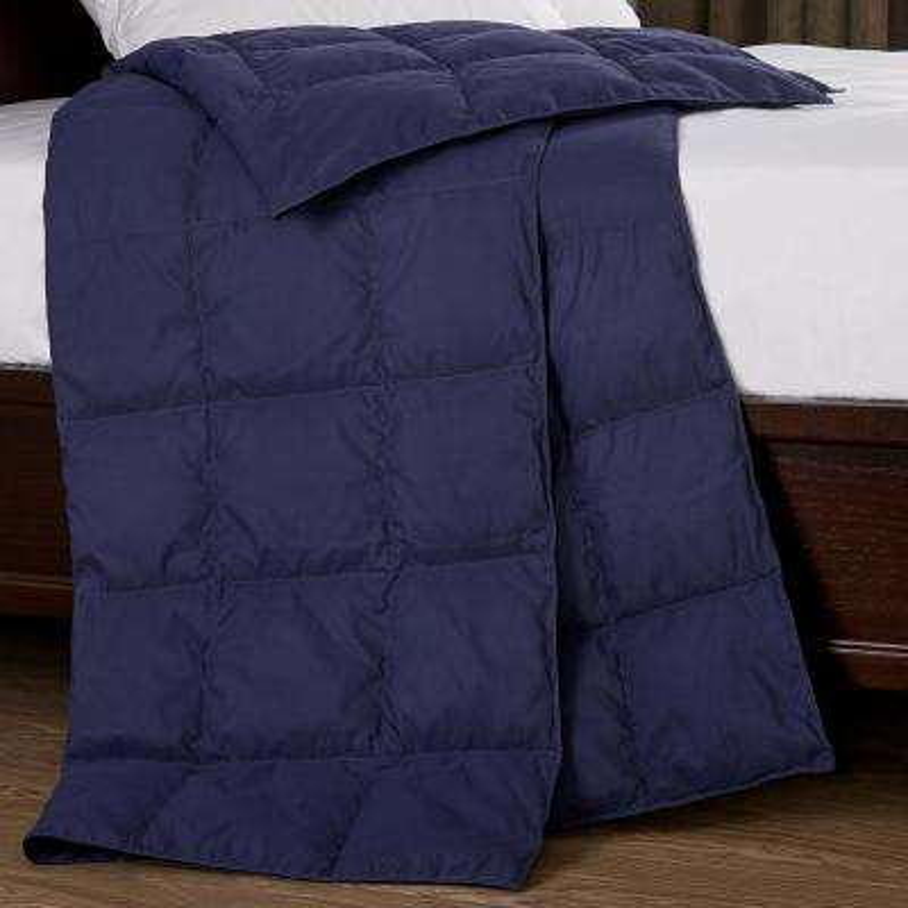 Packable Down 50 in. x 70 in. Indigo Throw Blanket