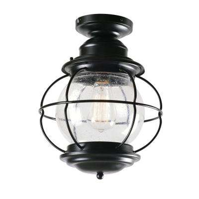 Coastalnautical outdoor ceiling lighting outdoor lighting the greer 1 light black outdoor semi flush mount lantern with caged seeded glass aloadofball Image collections