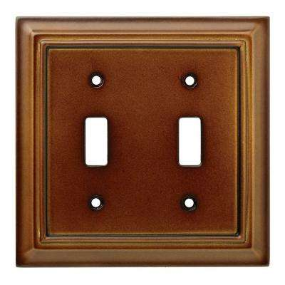 Architectural Wood Decorative Double Switch Plate, Saddle