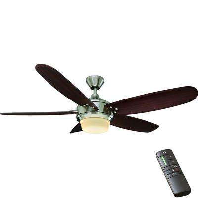 Breezemore 56 in. Indoor Brushed Nickel Ceiling Fan with Light Kit and Remote Control