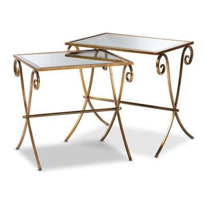 Ambre Antique Gold Stackable Accent Tray Table Set(2-Piece)