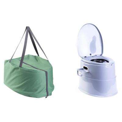 Folding Portable Travel Non-Electric Waterless Toilet for Camping, Hiking with Travel Bag Composting Toilet System Grey