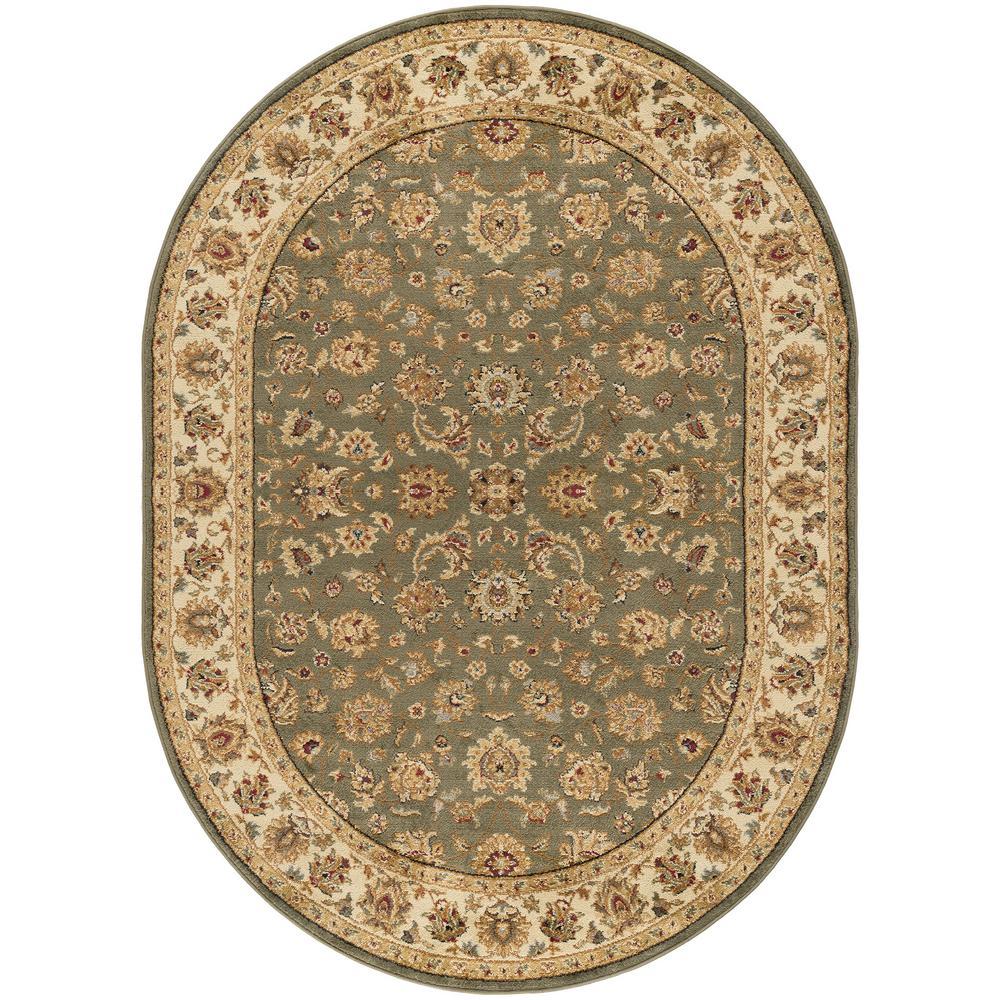 Tayse Rugs Elegance Green 7 Ft. X 10 Ft. Oval Indoor Area