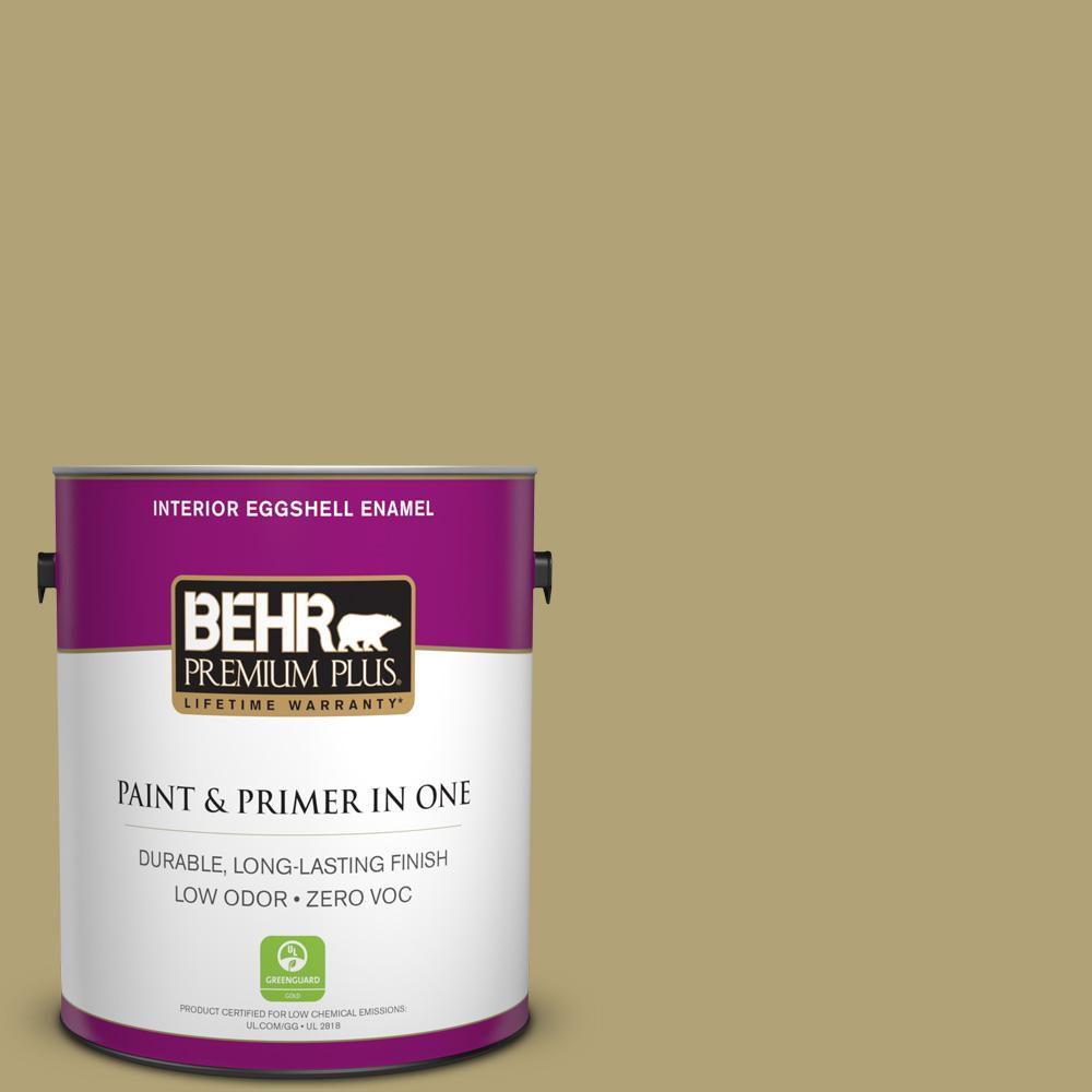 BEHR Premium Plus 1-gal. #PMD-101 Green Fig Zero VOC Eggshell Enamel Interior Paint