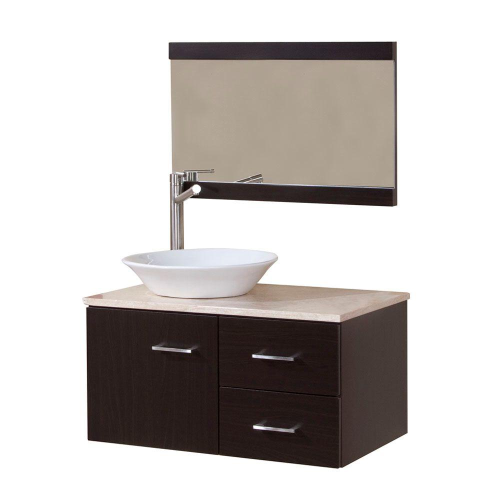 Domani Sicily 30 in. W x 19 in. D Bathroom Vanity Combo in Ebony with Natural Stone Vanity Top in Travertine and Mirror
