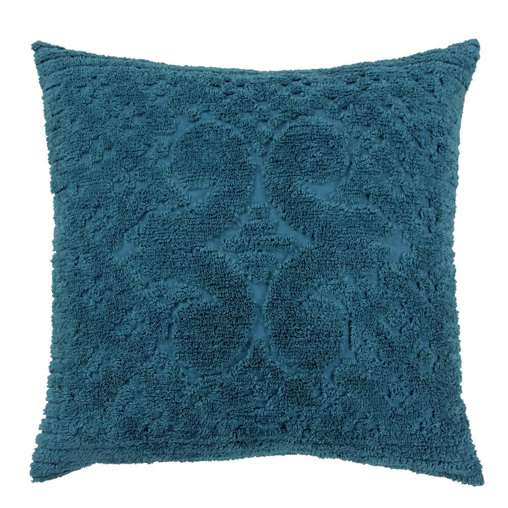 Ashton Collection in Medallion Design Teal Euro 100% Cotton Tufted Chenille Sham