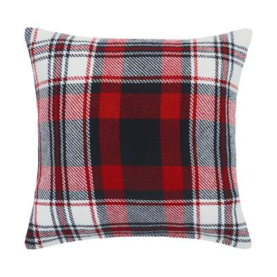 Fireside Plaid Red Plaid Down Alternative 18 in. x 18 in. Throw Pillow