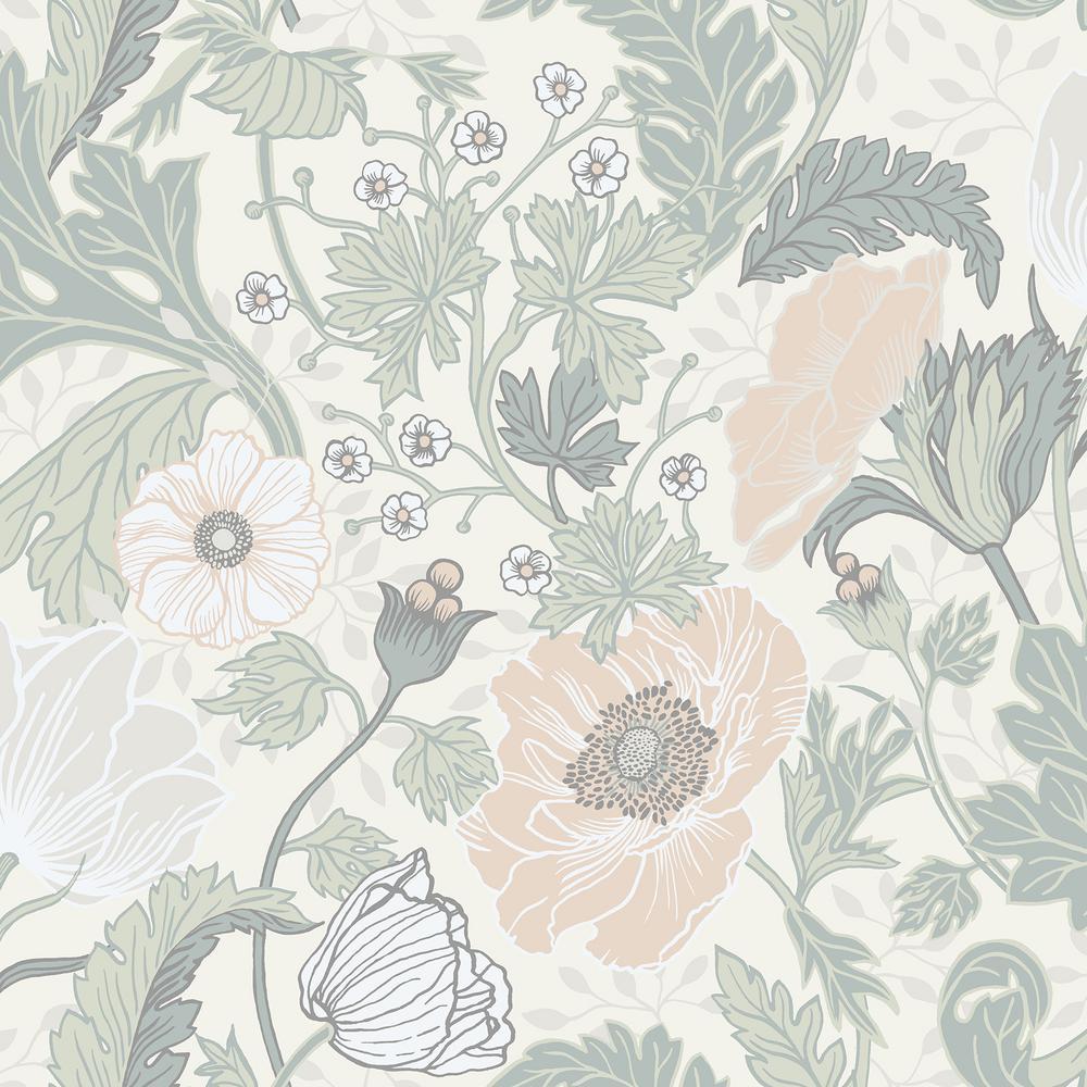 Anemone Light Grey Floral Wallpaper
