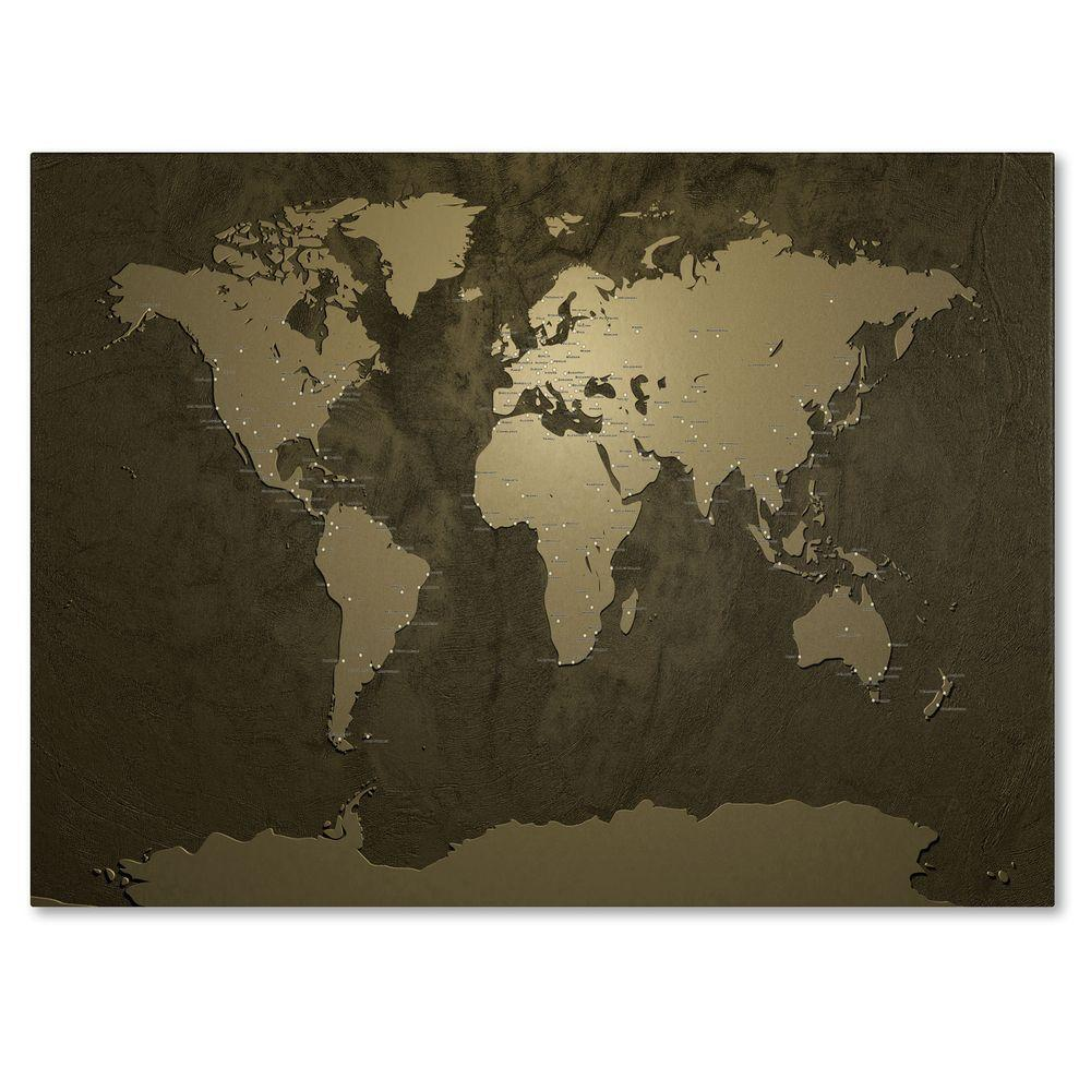 22 in. x 32 in. Gold World Map Canvas Art