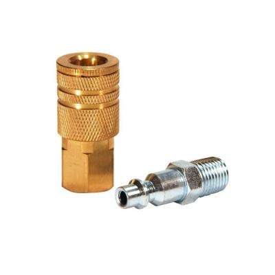 1/4 in. Industrial Brass Coupler Set with Male Plug (2-Piece)
