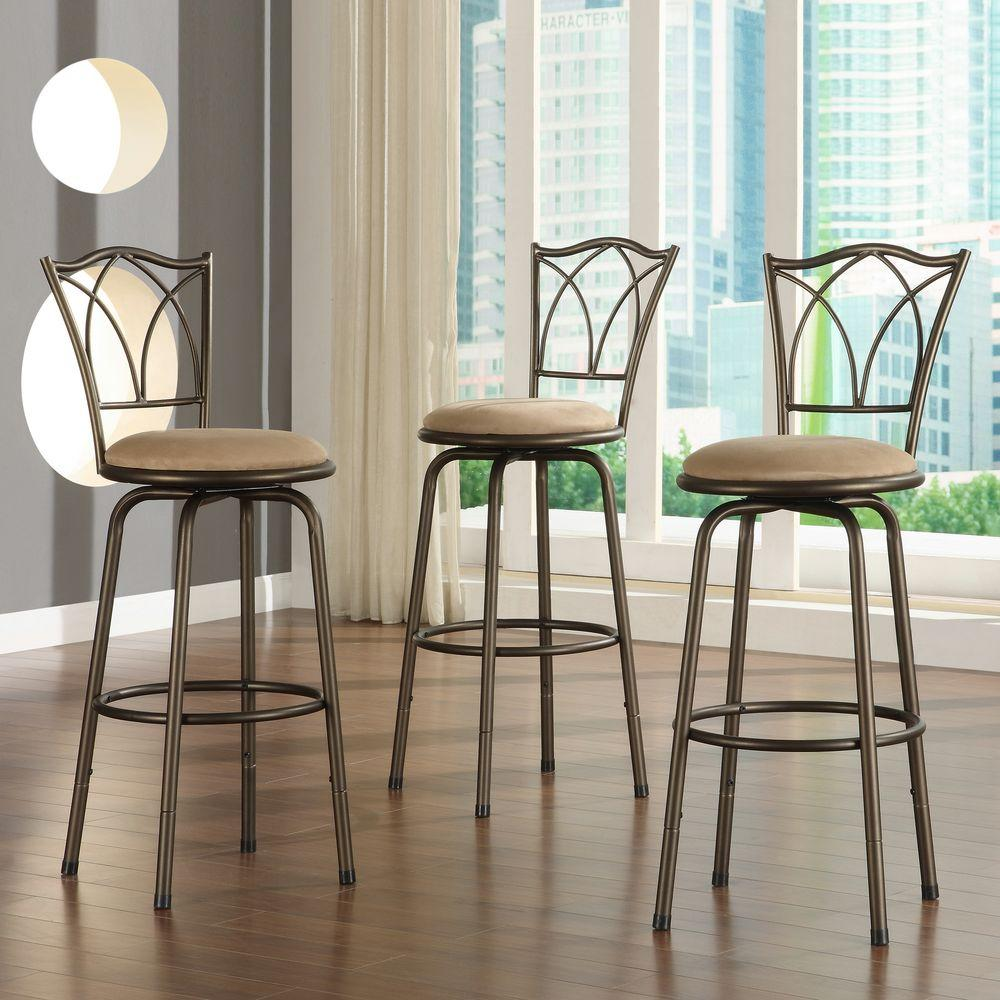 Adjustable Height Brown Swivel Cushioned Bar Stool Set Of 3