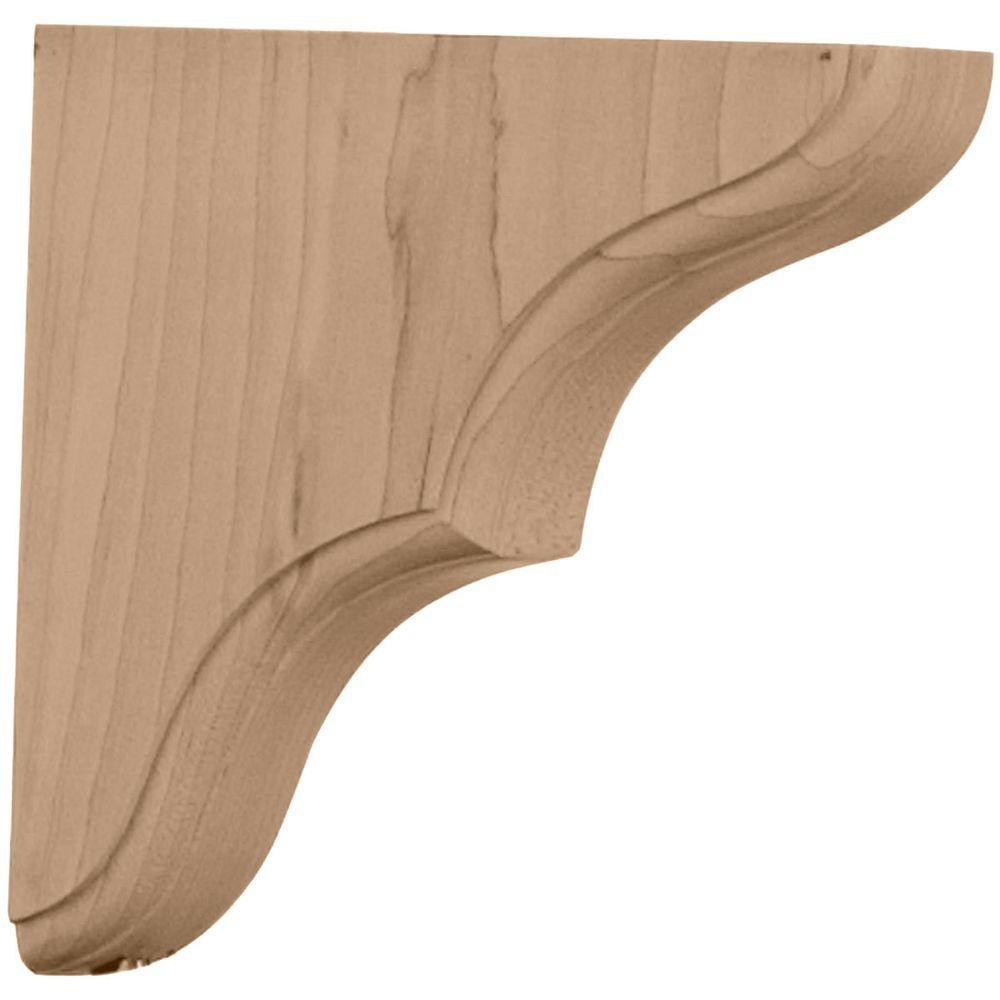 Ekena Millwork 1-3/4 in. x 5-1/2 in. x 5-1/2 in. Red Oak Stratford Wood Bracket