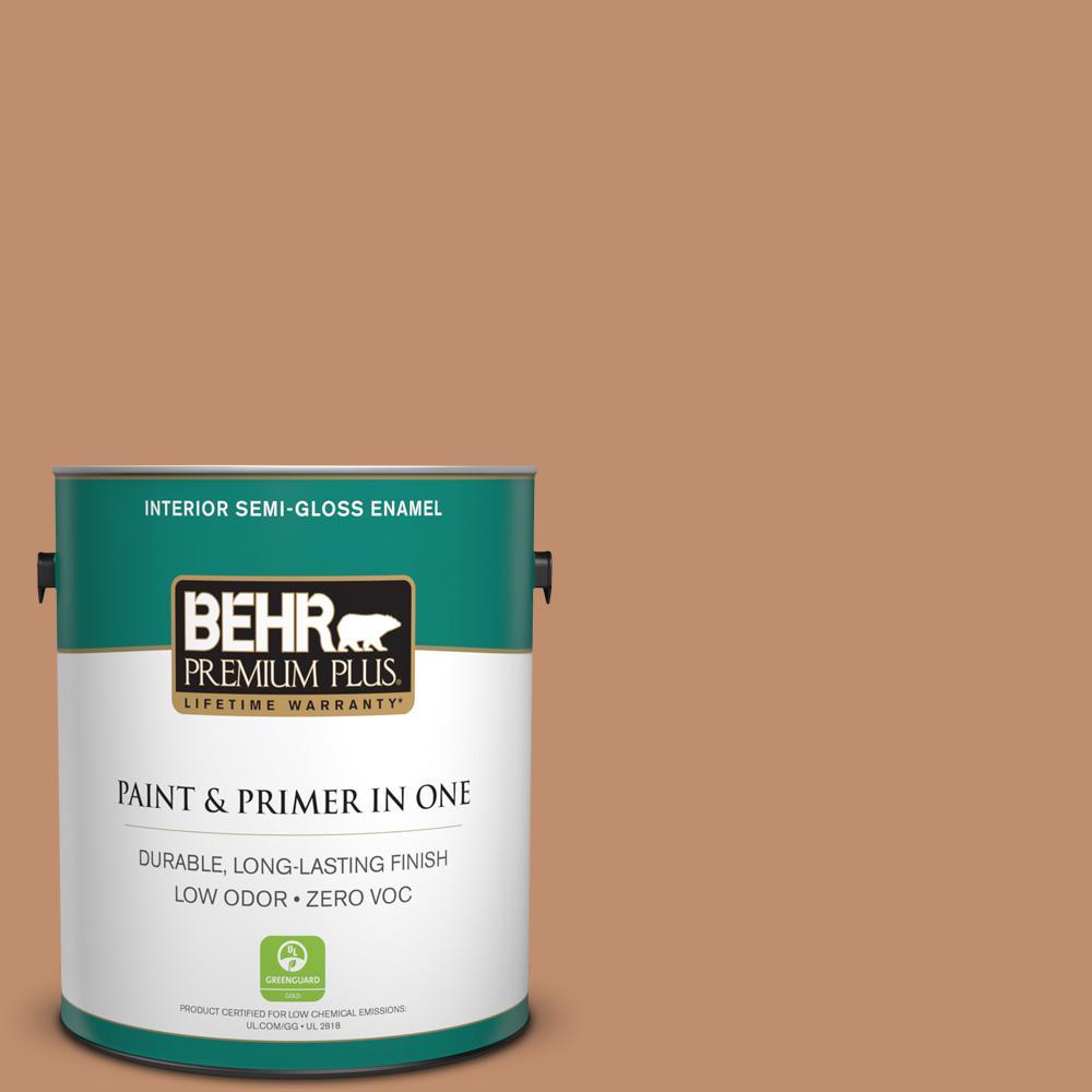 BEHR Premium Plus 1-gal. #260F-5 Applesauce Cake Zero VOC Semi-Gloss Enamel Interior Paint