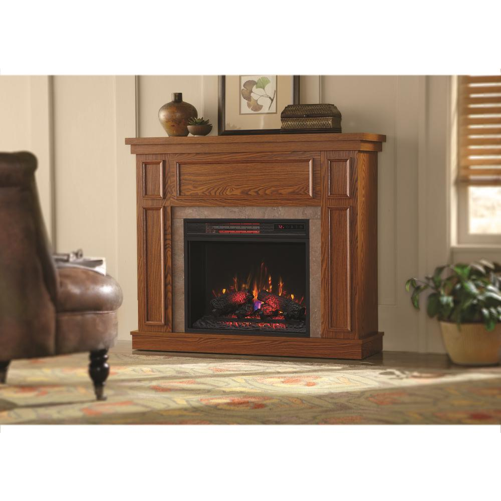 Home Decorators Collection Granville 43 in. Convertible Mantel Electric Fireplace in Oak with Faux Stone Surround