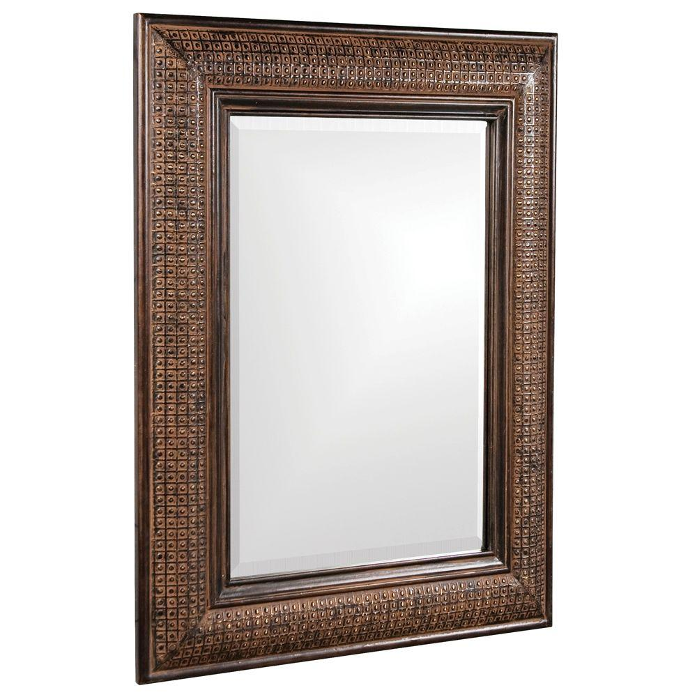null 39 in. x 31 in. Wood Framed Mirror