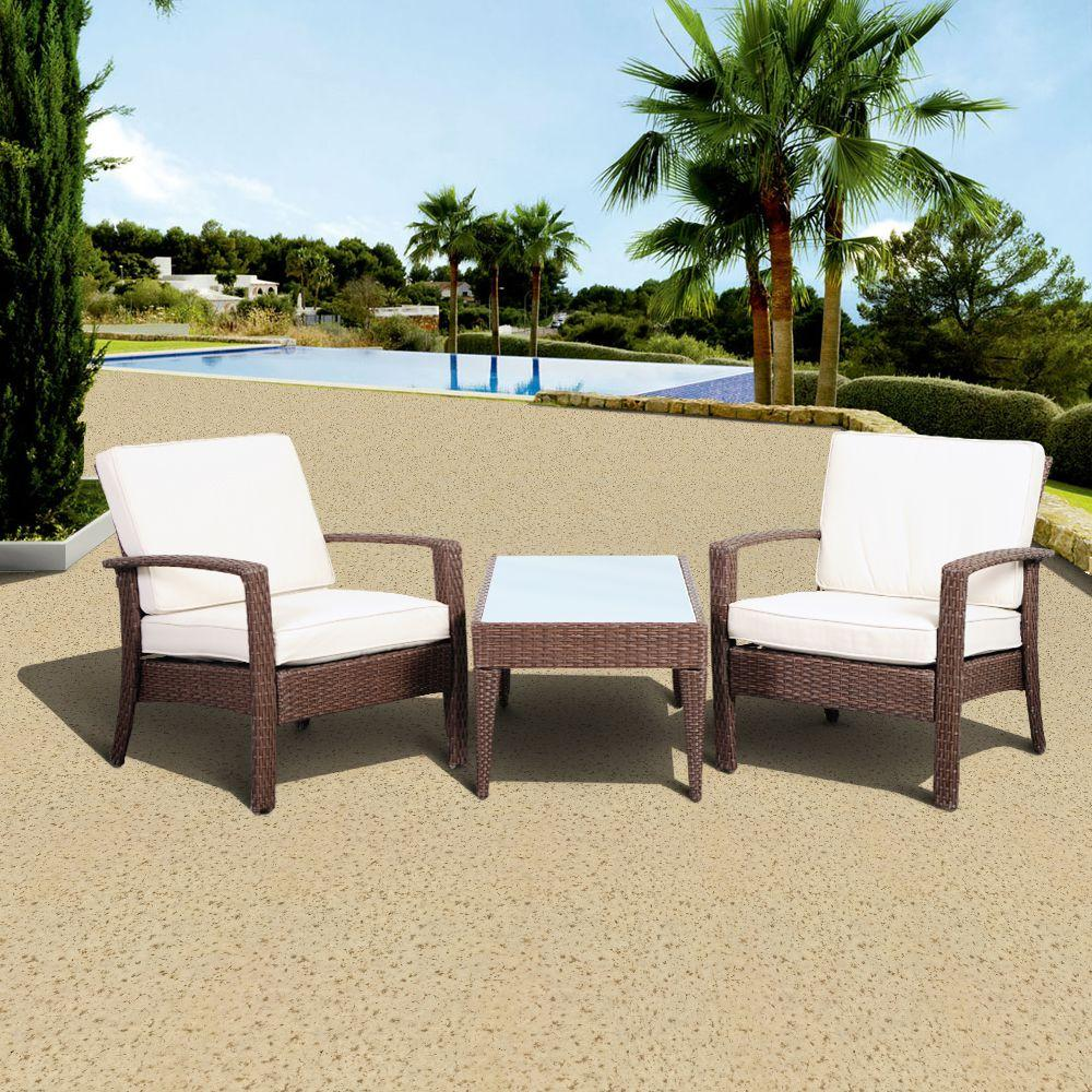 Atlantic Contemporary Lifestyle Florida Deluxe Brown 3-Piece All-Weather Wicker Patio Conversation Set with Off-White Cushions