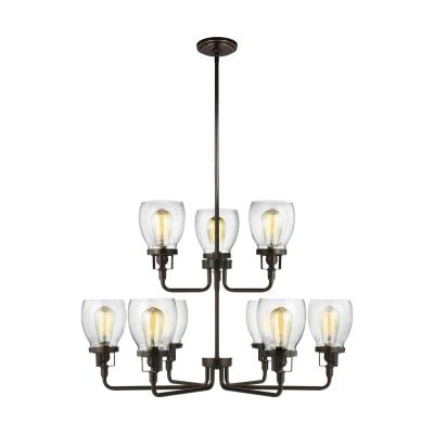 Sea Gull Lighting Belton 9-Light Heirloom Bronze Transitional Industrial Hanging Chandelier with Clear Seeded Glass Shades