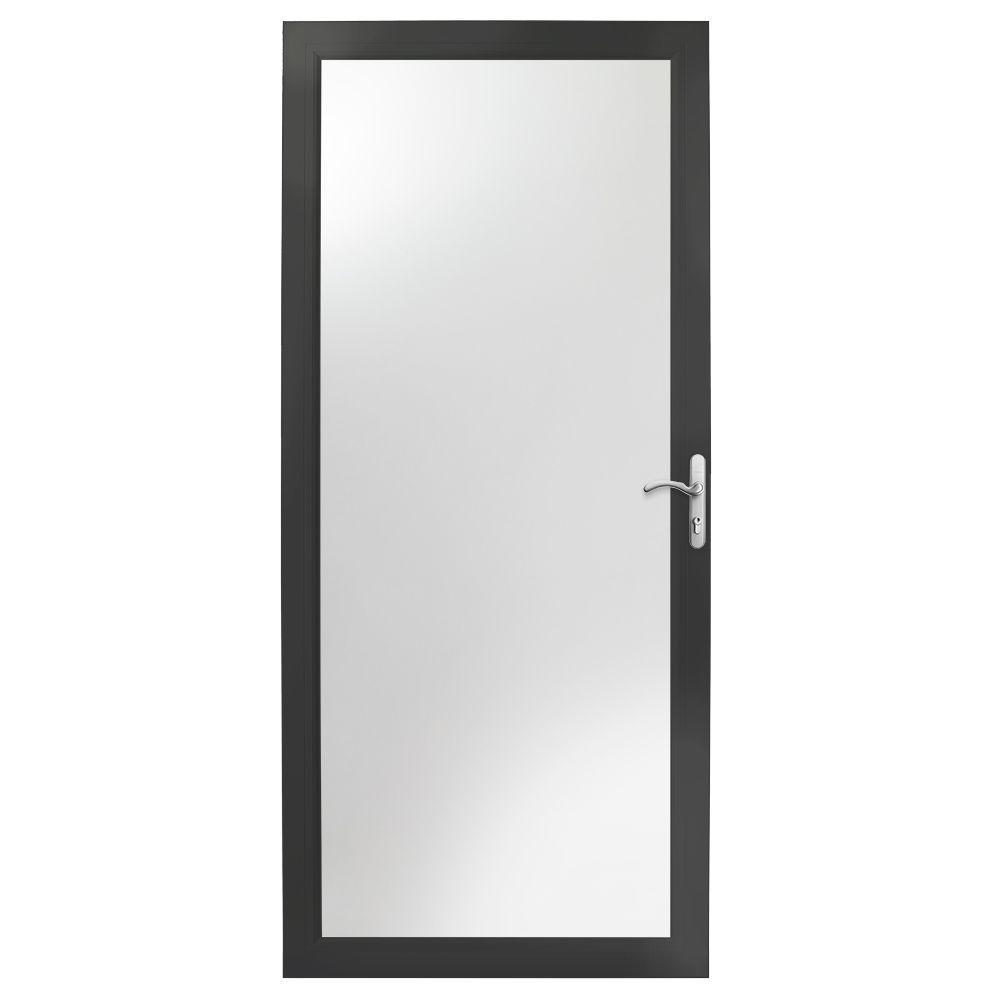 36 in. x 80 in. 3000 Series Black Right-Hand Fullview Easy InstallAluminum Storm Door with Nickel Hardware