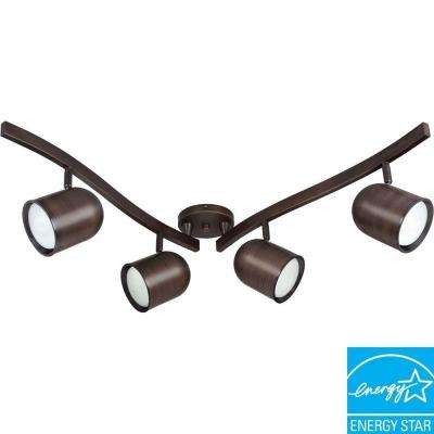4-Light R30 15-Watt Russet Bronze Bullet Swivel Track Lighting Kit
