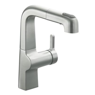 Evoke Single-Handle Pull-Out Sprayer Kitchen Faucet In Vibrant Stainless-Steel