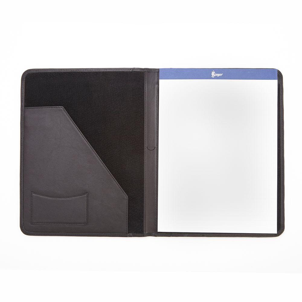 Genuine Leather Luxury Suede Lined Writing Portfolio, Black