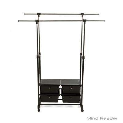50.79 in. W x 64.37 in. H Black Metal Garment Rack with Storage Drawers