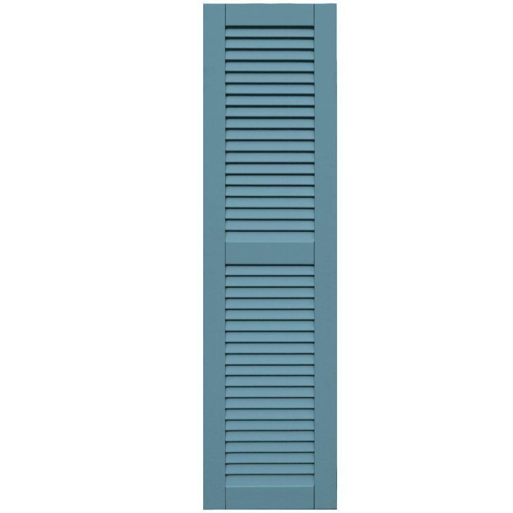 Winworks Wood Composite 15 in. x 57 in. Louvered Shutters Pair #645 Harbor