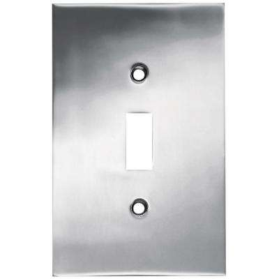 Concave Decorative Single Switch Plate, Polished Chrome